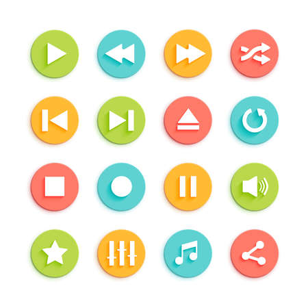 the material: Media player vector icons set. Flat style control buttons for online player. Play, stop, pause, repeat, equalizer and volume material design icons for mobile app.