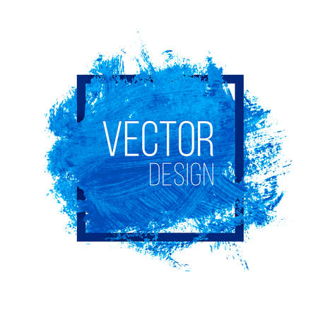 Blue watercolor blot in square frame. Vector paint banner for presentation. Advertisement template with copyspace. Иллюстрация