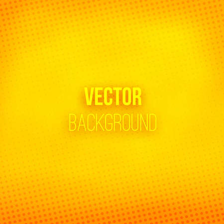 orange color: Yellow blurred background with halftone effect. Orange gradient. Dotted pattern. Shiny abstract background. Vector illustration.