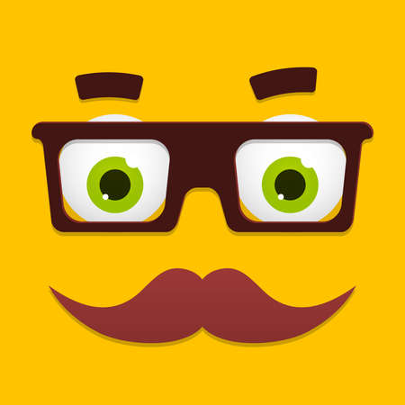 brows: Vector Hipster Avatar With Geek Glasses And Mustache. Geek Face. Cartoon Character App Icon In Flat Style. Geek Avatar. Vector Illustration. Hipster Character Portrait. Illustration
