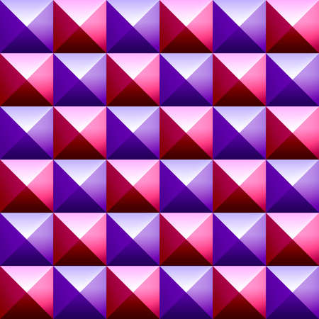 pyramidal: Abstract background of colorful plastic pyramids. Studded cubes seamless pattern. Pointed background. Pyramidal pattern. Geometric background of spikes. Red and purple volumetric square pyramids 3D