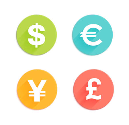 currencies: Dollar, euro, pound and yen currency signs. Flat style round vector icons for app and web site