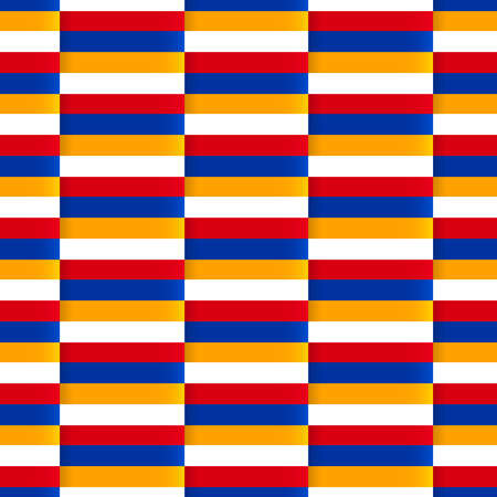 armenian: Seamless pattern with national flag of Armenia. Seamless vector background. Armenia flag. Striped background with stairs. Colorful striped blocks. Vector repeatable texture based on armenian flag.