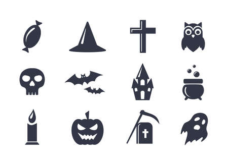 cross bones: Simple vector icons set for Halloween. Elements collection for 31 october party. Candy, skull, bats, grave, owl, ghost, pumpkin, castle and cauldron vector icons. Halloween symbols.