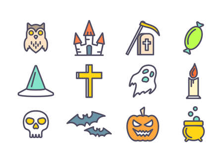 31: Colorful outline vector icons set for Halloween. Elements collection for 31 october party. Candy, skull, bats, grave, owl, ghost, pumpkin, castle and cauldron vector icons. Halloween symbols. Line art icons