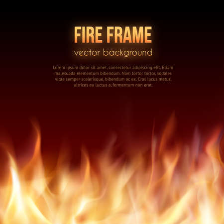 fogatas: Resumen de fondo con llamas de fuego marco y copyspace para el texto. Ilustración del vector. Marco ardiente fuego. Vector de fondo Fiery. Hoguera. Llamas de fuego transparentes