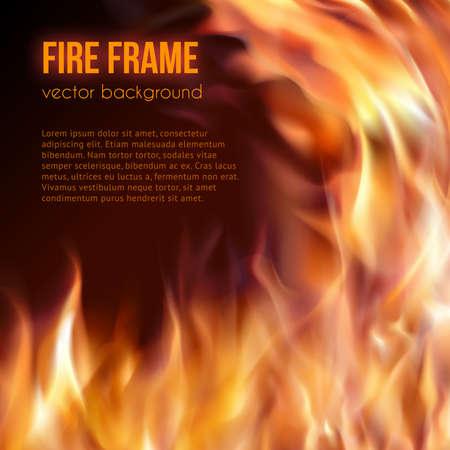 Abstracte achtergrond met vuur vlammen frame en copyspace voor tekst. Vector illustratie. Brandend vuur frame. Vector Vurige Achtergrond. Kampvuur. Transparante vuur vlammen