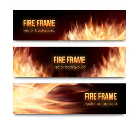 fire: Realistic burning hot fire campfire isolated advertisement banners set. Vector illustration. Fire flame strokes. Horizontal banners. Fire frames. Fiery cards set. Illustration