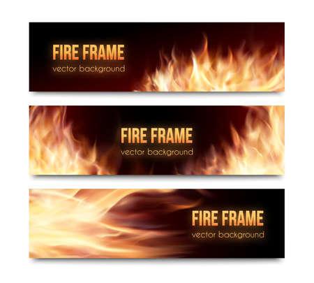 Realistische brennend heiß Feuer Lagerfeuer isoliert Werbung Banner gesetzt. Vektor-Illustration. Feuer Flamme streicht. Horizontale Banner. Feuerrahmen. Fiery-Karten eingestellt. Standard-Bild - 47658134