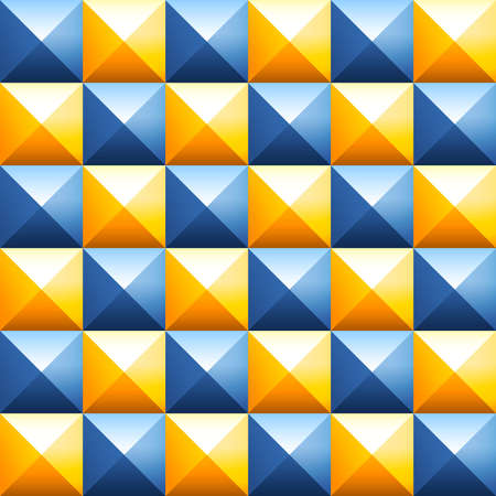 pyramidal: Abstract background of colorful plastic pyramids. Studded cubes seamless pattern. Pointed background. Pyramidal pattern. Geometric background of spikes. Orange and grey volumetric square pyramids 3D Illustration