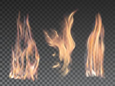 Conjunto de fuego llamas realistas sobre fondo transparente. Efectos especiales. Ilustración del vector. Elementos translúcidos. Rejilla de Transparencia.