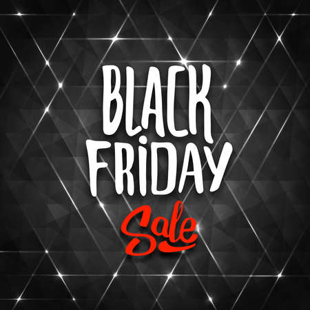 label sticker: Black Friday sale background with triangles. Typography, hand drawn lettering and calligraphic design elements. Banner for biggest sale.