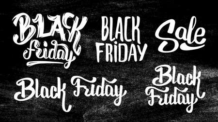 black pattern: Black Friday Sale stickers set on chalkboard. Typography, lettering and calligraphic design elements. Poster or banner for biggest sale.