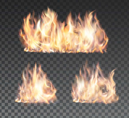 Set of realistic fire flames on transparent background. Special effects. Vectores