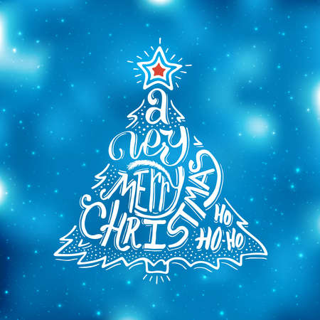 Very Merry Christmas typographic label. Background with hand lettering for christmas. Abstract blue blurred bakground with small bokeh lights. Doodle christmas tree and red star. Vector illustration Ilustrace