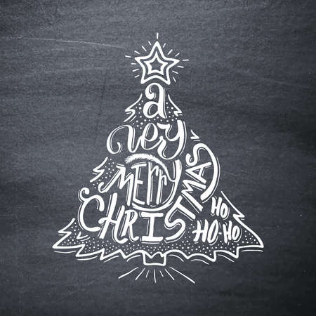 blackboard background: Very Merry Christmas typographic label. Background with hand lettering for christmas on black chalkboard. Doodle christmas tree. Merry Christmas greeting card. Vector illustration.