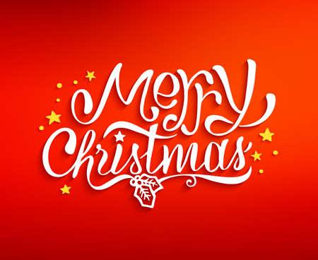 fond de texte: Joyeux Noël lettrage de texte pour carte de voeux, gravures et bannière web. arrière-plan flou rouge avec la main inscription tracée pour des vacances d'hiver. Vector illustration Illustration