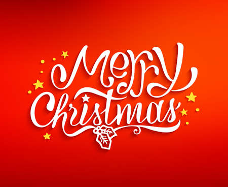 christmas elements: Merry Christmas text lettering for greeting card, prints and web banner. Red blurred background with hand drawn inscription for winter holidays. Vector illustration Illustration