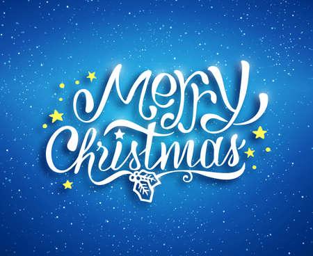Merry Christmas Text belettering voor de wenskaart, print en web banner. Blauwe onscherpe achtergrond met bokeh en met de hand getekende inschrijving voor de winter vakantie. Vector illustratie