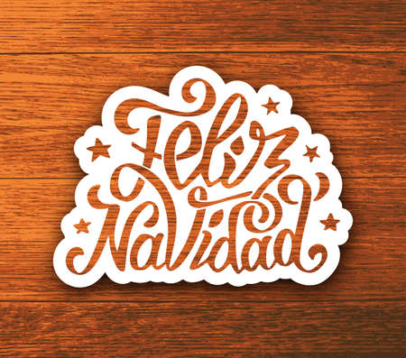 Feliz navidad text lettering sticker on wooden background. Vector illustration. Typographic label for Merry Christmas greeting cards, invitations and poster in spanish language.