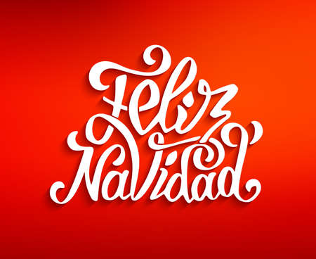feliz navidad: Feliz navidad lettering for invitation, prints and greeting cards. Merry Christmas greetings in spanish language. Hand drawn calligraphic inscription for winter holidays. Vector illustration