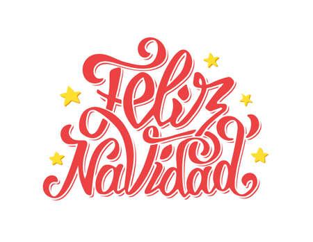 Letras de navidad Feliz por invitación, grabados y tarjetas de felicitación. Felices saludos de Navidad en la lengua española. Dibujado a mano inscripción caligráfica para las vacaciones de invierno. Ilustración vectorial Ilustración de vector