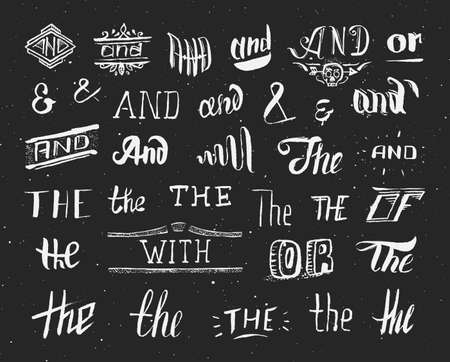 sketched arrows: Vintage style hand drawn ampersands and catchwords on black chalkboard. And, the, of, or, with, decorative elements. Design elements collection for greeting card or invitation. Vector illustration. Illustration