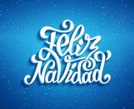Feliz Navidad belettering voor de uitnodiging, prenten en wenskaarten. De vrolijke groeten van Kerstmis in de Spaanse taal. Hand getrokken kalligrafische 3D inscriptie voor de winter vakantie. vector illustratie