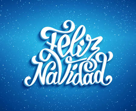 spanish language: Feliz navidad lettering for invitation, prints and greeting cards. Merry Christmas greetings in spanish language. Hand drawn calligraphic 3D inscription for winter holidays. Vector illustration