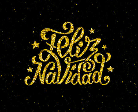 feliz: Feliz Navidad gold glittering hand lettering design template. Golden text with spanish Christmas greetings on black background. Vector illustration. Winter holidays greeting card with typography