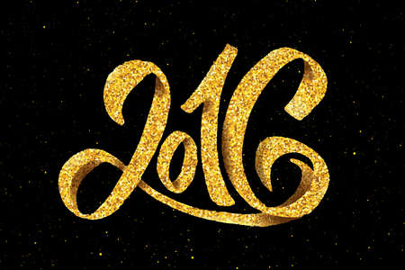 typography: New Year 2016 gold glittering hand lettering design template. Golden text with 2016 year greetings on black background. Vector illustration. Winter holidays greeting card with typography
