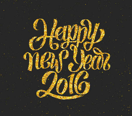 new years eve: New Year 2016 gold glittering hand lettering design template. Golden text with 2016 year greetings on black background. Vector illustration. Winter holidays greeting card with typography