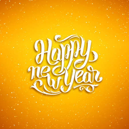new season: Happy New Year 2016 greeting card design. Yellow blurred background with snowflakes and white hand lettering inscription from paper. Vector festive background. Winter background with typography Illustration