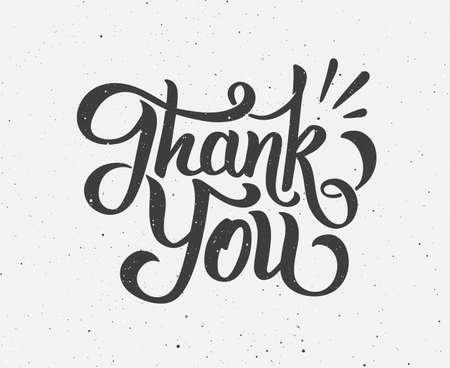 Dziękuję handdrawn napis na vintage tle grunge You. Nowoczesne kaligrafii tekst dziękczynienia lub międzynarodowym dziękuję dni. ilustracji wektorowych. Retro plakat z typografii