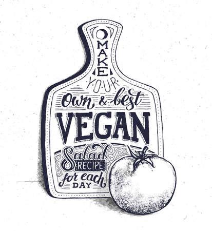 Nourriture végétalienne. Affiche de citation motivationnelle rétro vintage avec lettrage à la main et la typographie. Recette de salade de cuisine végétarienne à la tomate. Planche à découper. Affiche âgée avec effet de demi-teinte Vecteurs