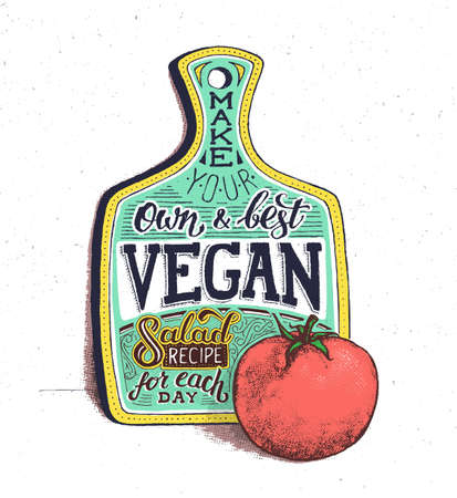 ensalada tomate: Comida vegana. cartel de la cita de motivación de la vendimia retro con letras de la mano y la tipografía. Vegetariana receta de ensalada de cocinar con tomate. la tabla de cortar. cartel de edad con el efecto de semitono Vectores