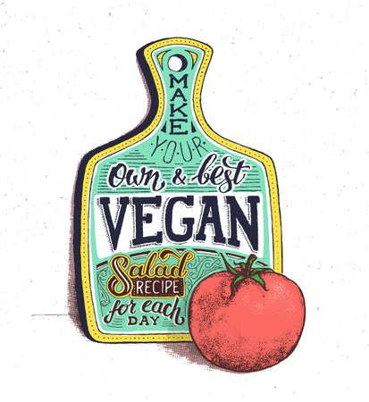 Vegan Essen. Retro vintage motivierend Zitat Plakat mit Handbeschriftung und Typografie. Vegetarische Küche Salat Rezept mit Tomaten. Schneidbrett. Im Alter von Plakat mit Halbton-Effekt
