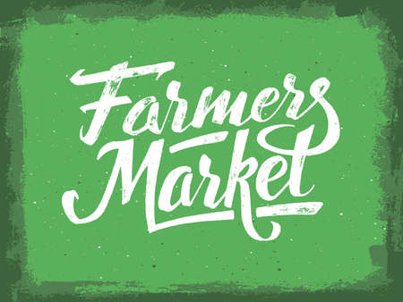 Farmers market hand lettering on green aged background. Vegan food retail banner. Retro vintage advertising poster with unique typography. Vector illustration Çizim