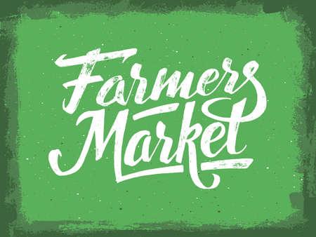 Rolnicy ręka rynku napis na zielonym tle wieku. Wegańskie banner detalicznej. Retro Vintage plakat reklamowy z unikalnym typografii. ilustracji wektorowych Ilustracje wektorowe