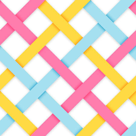 Chic vector seamless pattern. Geometric background with interwoven pastel colored strips. Vector illustration. Blue, pink and yellow crossed tape. Colorful modern seamless background. 向量圖像