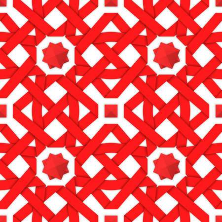 intertwined: Red interwoven ribbons ornament. Geometric seamless pattern with crossed strips. Vector illustration. Red tape 3d style. Colorful abstract intertwined seamless background. Illustration