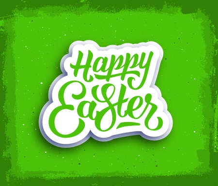 green grunge background: Happy Easter hand lettering text. Vintage greeting card for easter with typography. Happy easter greetings on green grunge background. Vector illustration Illustration