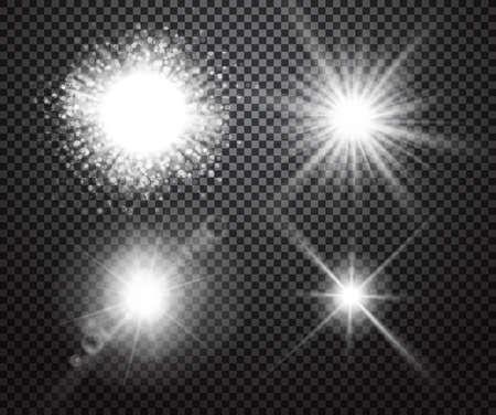 lucero: Conjunto de luces brillantes efectos aislados en el fondo transparente. efectos especiales con la transparencia. luces brillantes, destellos de lentes, rayas, estrellas, destellos y recogida bokeh. ilustración vectorial Vectores
