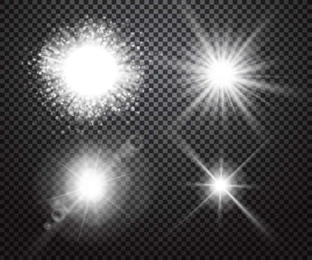 Set of glowing lights effects isolated on transparent background. Special effects with transparency. Glowing lights, lens flares, rays, stars, sparkles and bokeh collection. Vector illustration Illustration