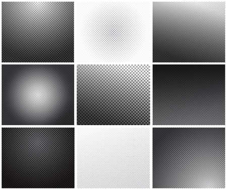 Set of transparency grid with different black and white gradients and cell size. Transparent grid texture. Transparency grid background. Checkered background. Chess board texture. Vector illustration Illustration
