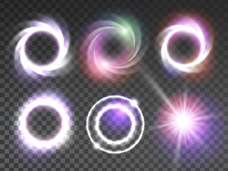 abstract swirls: Isolated glowing light effects set with transparent background. Lightning special effects collection. Magic glowing ring, star light, swirl, flare and explosion with transparency. Vector illustration