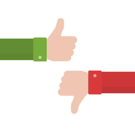 Thumbs up and thumbs down in flat style. Positive and negative feedback. Good and bad gestures. Like and dislike concept. Vector illustration 向量圖像