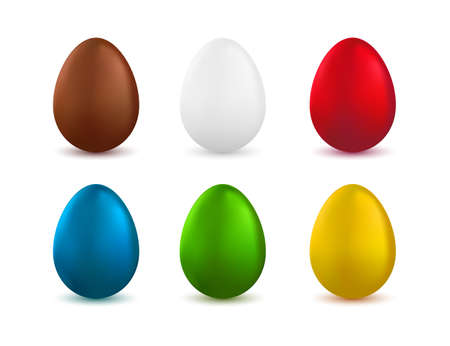 green brown: Set of realistic easter eggs isolated on white background. Painted easter eggs. Colored eggs collection. White, red, green, blue, brown and golden colored eggs. Vector illustration