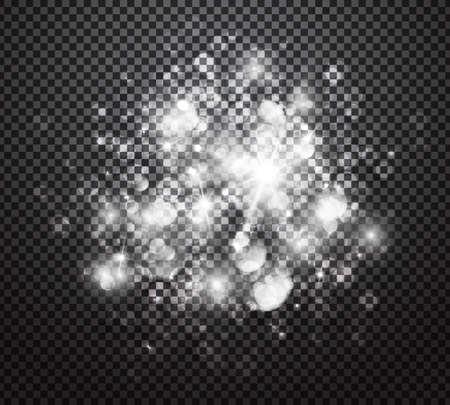 Gloeiende lichten effecten geïsoleerd op een transparante achtergrond. Speciale effecten met transparantie. Gloeiende lichten, lens flares, stralen, sterren, glitters en bokeh collectie. vector illustratie Stock Illustratie