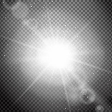 Lens flare on transparent background. Realistic sunbeams and lens flare. Special light effects with transparency. Isolated spark. Vector illustration.